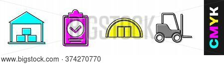 Set Warehouse, Verification Of Delivery List Clipboard, Warehouse And Forklift Truck Icon. Vector
