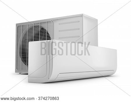 Outdoor And Indoor Air Conditioning Unit. 3d Image. White Background.