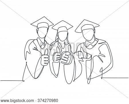 One Line Drawing Of Young Happy Graduate College Students Wearing Graduation Dress And Giving Thumbs