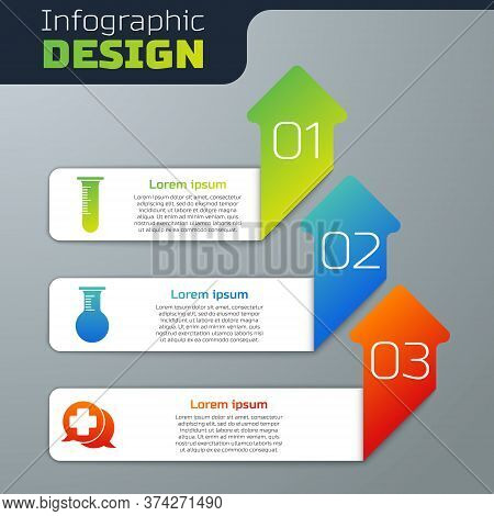 Set Test Tube And Flask, Test Tube And Flask And Dialogue With The Doctor. Business Infographic Temp