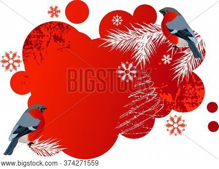 Red winter banner with two bright bullfinches.