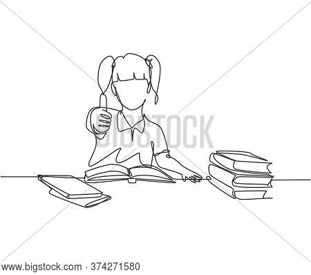 One Line Drawing Of Young Happy Elementary School Girl Student Studying In The Library And Reading S