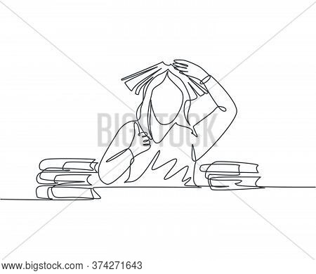 One Line Drawing Of Young Bored Female Student Read Stack Of Books In Library And Put The Book On He