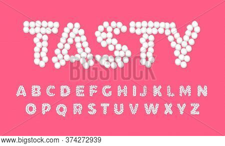 Marshmallow Letters, Sweet, Tasty And Cute Font, White Letters Of Dots On Pink Color Background, Vec