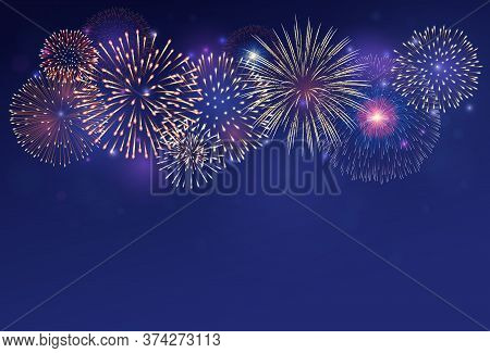 Fireworks On Twilight Background Vector Illustration. Bright Salute Explosion With Gradient Glowing