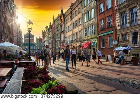 Gdansk, Poland - June 20, 2020: Architecture of the old town in Gdansk, Poland. Gdansk is the historical capital of Polish Pomerania with medieval old town architecture.