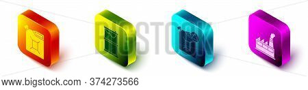 Set Isometric Canister For Gasoline, Barrel Oil Leak, Eco Fuel Canister And Oil Industrial Factory B