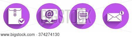 Set Envelope And Check Mark, Mail And E-mail On Speech Bubble, Chat Messages Notification On Phone A