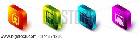 Set Isometric Picture, Graphic Tablet, Graphic Tablet And Picture Landscape Icon. Vector