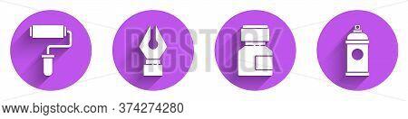 Set Paint Roller Brush, Fountain Pen Nib, Paint, Gouache, Jar, Dye And Paint Spray Can Icon With Lon