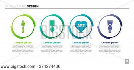 Set Palette Knife, Palette Knife, Heart With Text Art And Tube With Paint Palette. Business Infograp