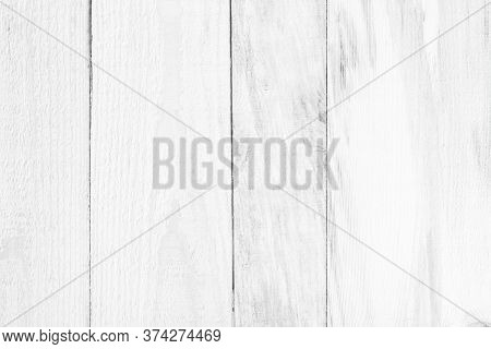 Wood Plank White Timber Texture Background. Old Wooden Wall All Have Antique Cracking Furniture Pain
