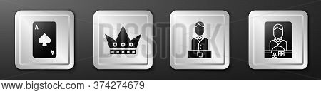 Set Playing Card With Spades, King Playing Card, Casino Dealer And Casino Dealer Icon. Silver Square