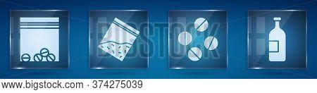 Set Plastic Bag Of Drug, Plastic Bag Of Drug, Medicine Pill Or Tablet And Alcohol Drink Bottle. Squa