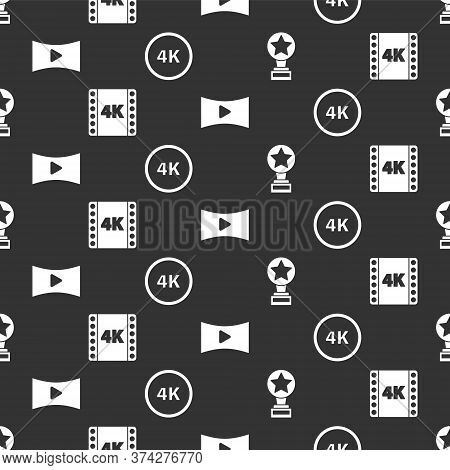 Set Movie Trophy, 4k Movie, Tape, Frame, Online Play Video And 4k Ultra Hd On Seamless Pattern. Vect