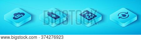 Set Isometric Co2 Emissions In Cloud, Battery, Recycle Clean Aqua And Paper Bag With Recycle Icon. V
