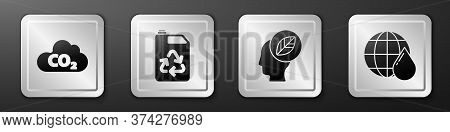 Set Co2 Emissions In Cloud, Eco Fuel Canister, Human Head With Leaf Inside And Earth Planet In Water
