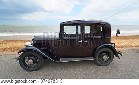 Felixstowe, Suffolk, England - May 05, 2019: Classic 1933 Austin 10-4 Motor Car Parked On Seafront P
