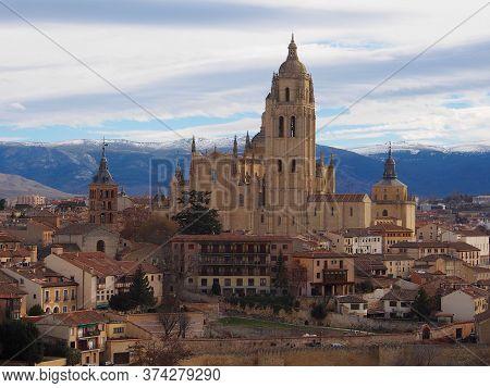 Panoramic View Of Historic City Segovia With Catedral De Santa Maria (segovia Cathedral, Spain)