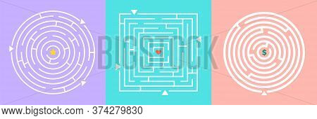 Labyrinths Game. Mazes With Heart Star And Money. Finding Love Wealth Or Glory Metaphor Vector Illus