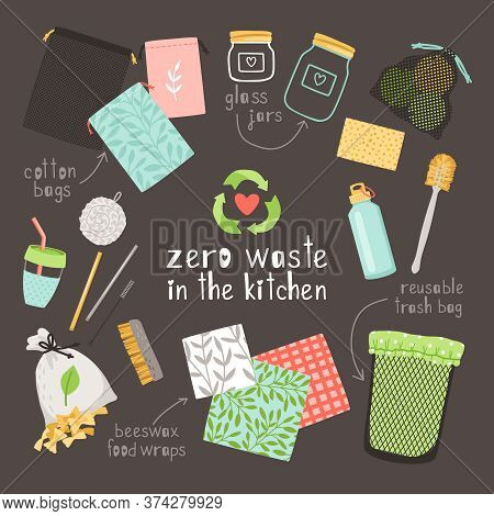 Zero Waste On Kitchen. Beeswax Food Wraps, Cotton Bags And Glass Jars Is Durable And Reusable Eco Fr