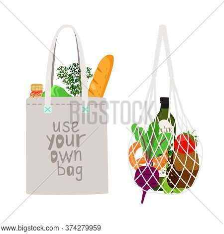 Zero Waste Shopping. Hand Drawn Natural Eco Products In Linen Bag And A String Bag, Concept Healthy