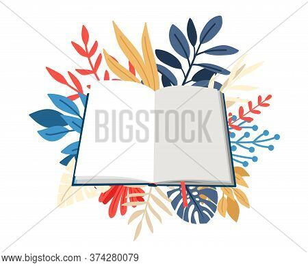 Cartoon Book In Hardcover. Empty Textbook With Bookmark Over Colored Branches. Vector Illustration O