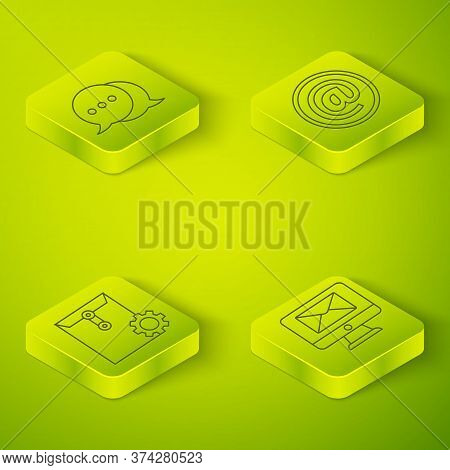 Set Isometric Mail And E-mail, Envelope Setting, Monitor And Envelope And Speech Bubble Chat Icon. V