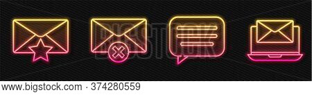 Set Line Speech Bubble Chat, Envelope With Star, Delete Envelope And Laptop With Envelope. Glowing N