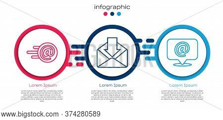 Set Line Mail And E-mail, Envelope And Mail And E-mail On Speech Bubble. Business Infographic Templa