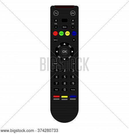 Realistic Tv Remote Control Isolated On White. Remote Control With Infrared Signal And Multi-colored