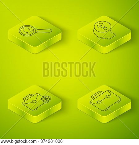 Set Isometric Human Head With Question Mark, Briefcase And Money, Briefcase And Magnifying Glass For