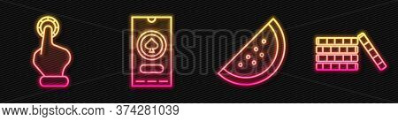 Set Line Casino Slot Machine With Watermelon, Hand Holding Casino Chips, Casino Poker Tournament Inv