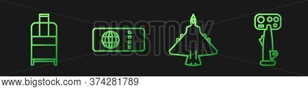 Set Line Jet Fighter, Suitcase, Airline Ticket And Aircraft Steering Helm. Gradient Color Icons. Vec