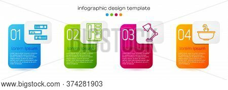 Set Line Shelf With Books, Wardrobe, Table Lamp And Washbasin With Water Tap. Business Infographic T