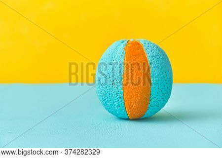 Painted Orange In Cyan Color. Lobule Is Different In Color. The Concept