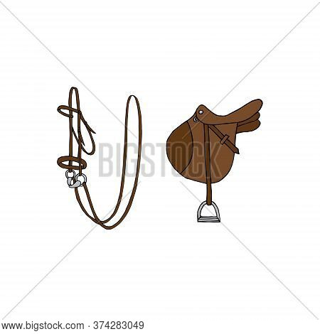 Vector Hand Drawn Doodle Sketch Equestrian Horse Bridle And Saddle Isolated On White Background