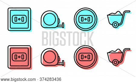 Set Line Electrical Outlet, Electrical Outlet, Roulette Construction And Shovel Icon. Vector
