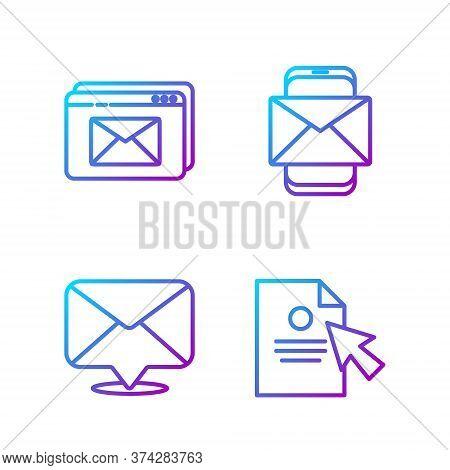 Set Line Document And Cursor, Envelope, Website And Envelope And Mobile And Envelope. Gradient Color