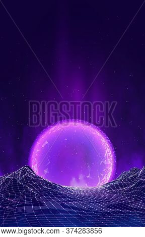 80s Retro Sci-fi Background With Summer Landscape. Abstract Digital Landscape With Particles Dots An