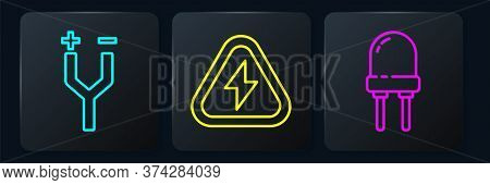 Set Line Electric Cable, Light Emitting Diode And High Voltage. Black Square Button. Vector