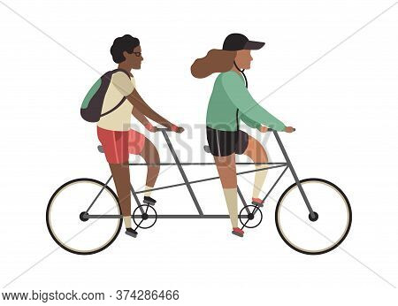 Cyclists Concept. Happy People Ride Tandem Bike. Outdoor Activities In Park, Couple Healthy Lifestyl