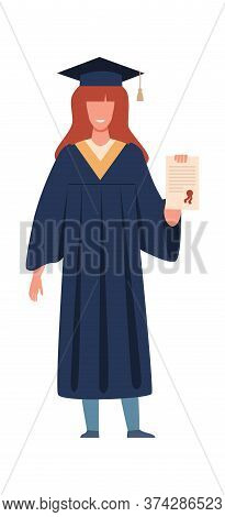Graduated Student. Happy Girl With Diploma Or Certificate Wearing Academic Gown And Hat, Graduation