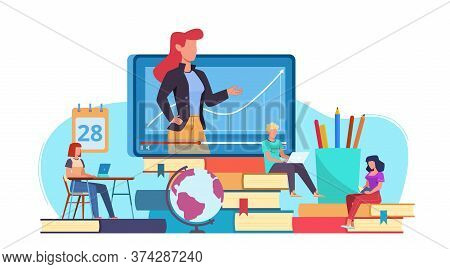 Online Education. Webinar And Video Seminar Learning, Online Teacher On Computer Monitor, Internet T