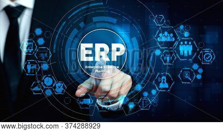 Enterprise Resource Management Erp Software System For Business Resources Plan Presented In Modern G