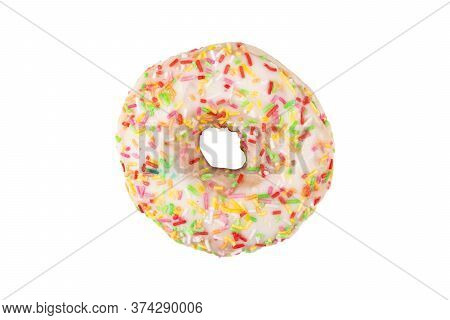 Sweet Pink Donut Isolated On White Background. Fresh Donut Covered In Sprinkles Isolated Over White