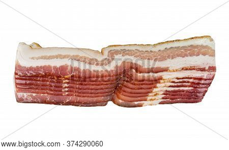 Several Rows Of Sliced Smoked Bacon Isolated On White Background. Fresh Sliced Bacon Isolated Over W