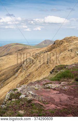 Mountain Range Nature Landscape. Mountain Layers Landscape. Springtime In Balkan Mountains Landscape
