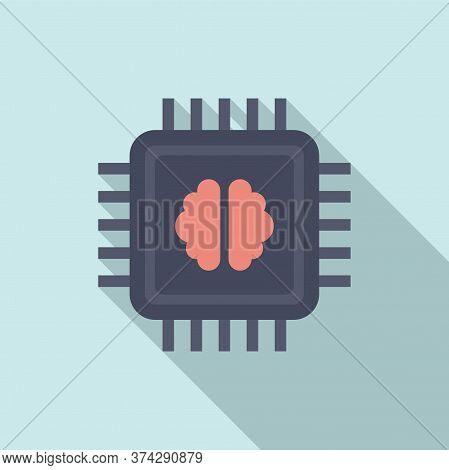 Brain Ai Processor Icon. Flat Illustration Of Brain Ai Processor Vector Icon For Web Design