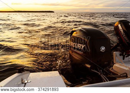 Sankt-petersburg, Russia, June 22, 2020: Modern New Fishing Sport Boat With A Brand New Mercury Four